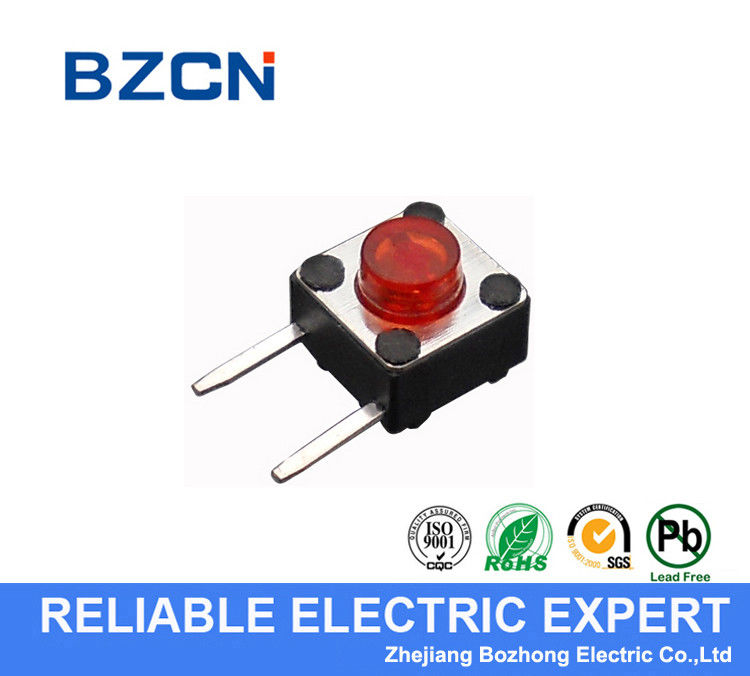Red Button 2 Pin Right Angle Push Button Switch , 6X6mm Tactile Switch