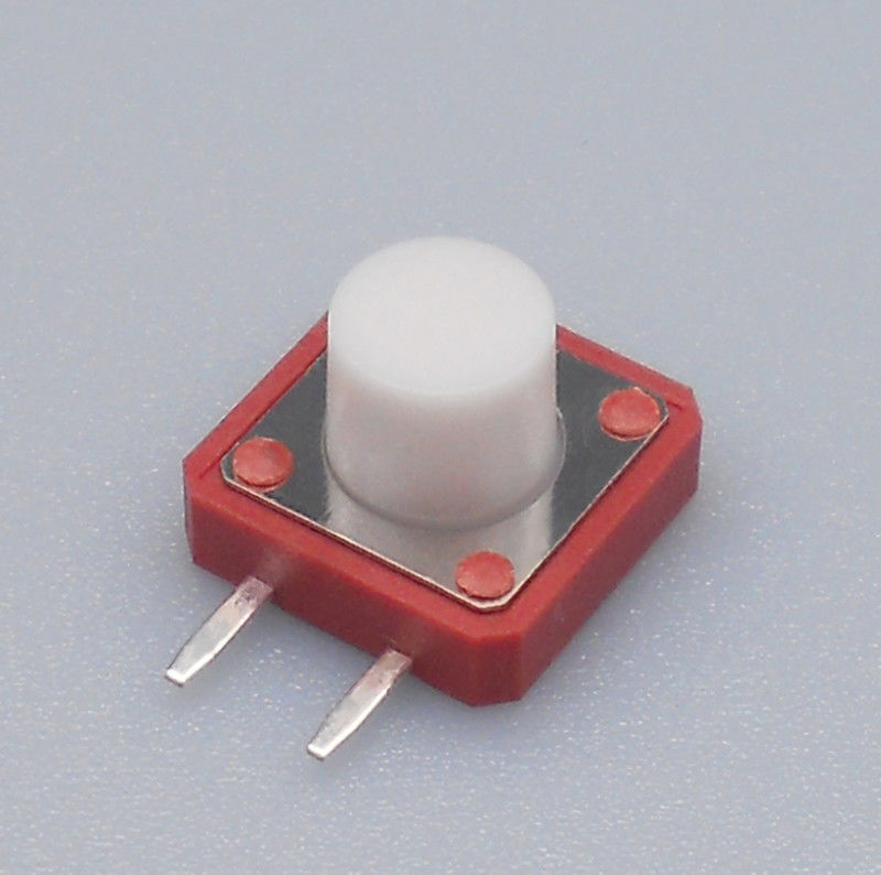 12 Mm X 12 Mm Tactile Switch White Push Button 2 Pin Side Terminal Silent Switch